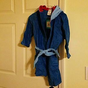 Kids Hooded Towel Robe Bluedinosaur